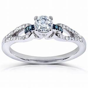 inexpensive 1 2 carat round white and blue diamond With 2 carat diamond wedding ring