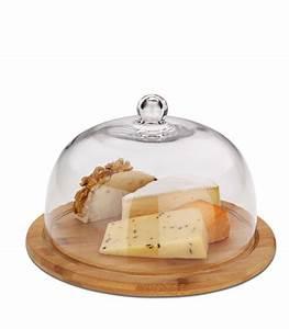 Plateau En Verre Rond : plateau fromage rond base bambou et cloche en verre ~ Teatrodelosmanantiales.com Idées de Décoration