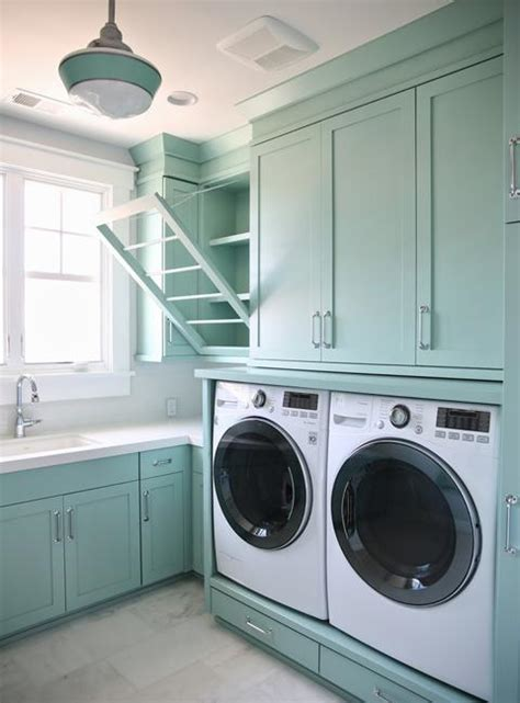 space saving racks adding eco accents  laundry room design