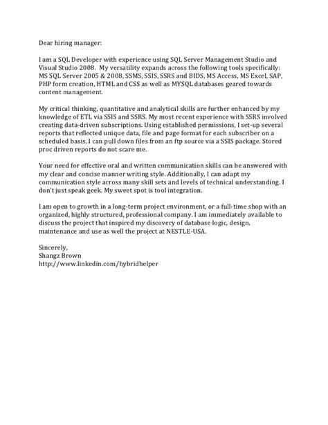 sle resume for experienced sql server developer cover letter dear