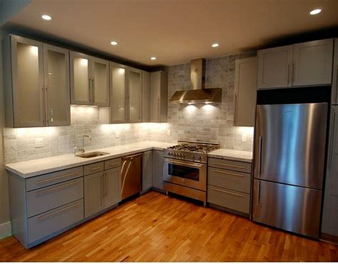 modern grey kitchen cabinets  silver shades