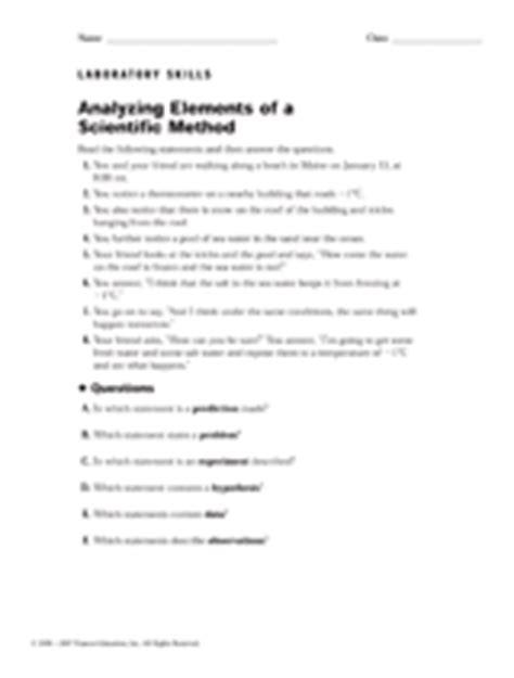 analyzing elements   scientific method printable