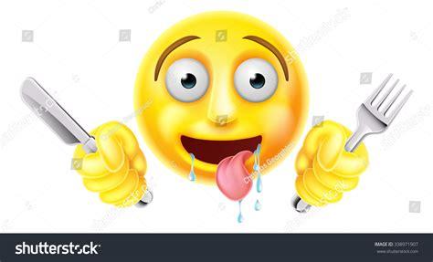 Very Hungry Starving Emoticon Emoji Smiley Stock Vector