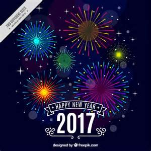 happy new year background with colorful fireworks vector free
