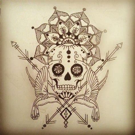 drawn sugar skull mandala pencil   color drawn
