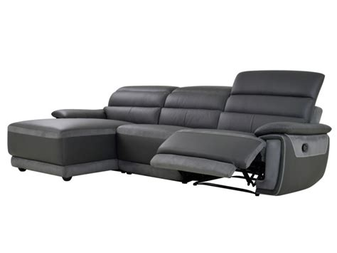 canape angle relax microfibre canapé d 39 angle relax en cuir et microfibre anthracite samos