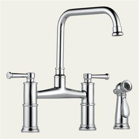 bridge faucet kitchen 62525lf brizo two handle bridge kitchen faucet with spray