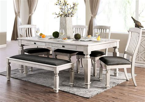 Antique White Dining Room Table by Factory Expo Furniture Antique White Rectangular