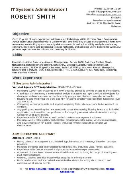 System Administrator Resume by It Systems Administrator Resume Sles Qwikresume