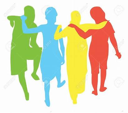 Walking Arms Around Each Clipart Away Vector