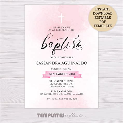 FREE Pink Watercolor Baptism Invitation Template FLEARN PH