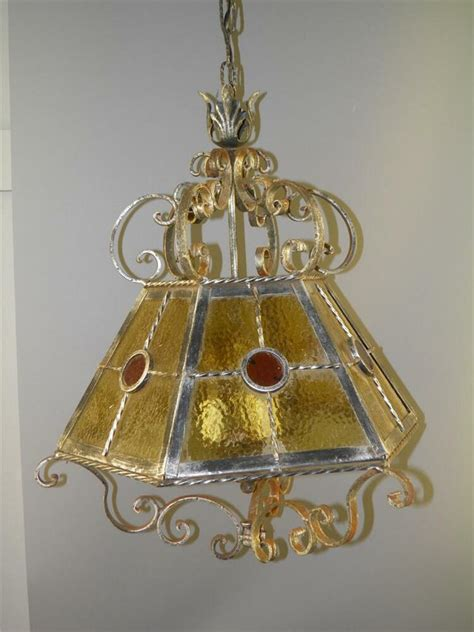 Chandelier Antique by Antique Ornate Iron Stained Slag Glass Shade