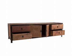 Tele 180 Cm : meuble t l industriel en bois pais et m tal noir de 180 cm ~ Teatrodelosmanantiales.com Idées de Décoration