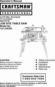 Craftsman 137218300 User Manual Table Saw Manuals And