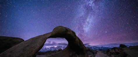 Wallpaper Night Galaxy Sky Long Exposure Milky Way
