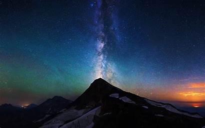 Sky Night Aurora Mountain Milky Way 4k