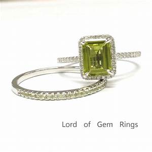 599 emerald cut peridot engagement ring sets pave diamond for Peridot wedding ring set