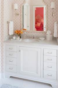 Gray green makeup vanity with black and white bone inlay for Pink and cream bathroom