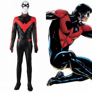 New 52 Red Batman Young Justice Nightwing Jumpsuit Cosplay ...