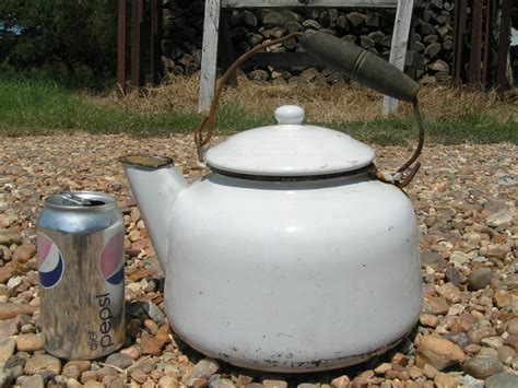 Old White Enamelware Coffee Tea Kettle Boiler Pot Vintage Coffee Tables For Sale Louisville At Decofurn Arabic London Nz Images Metal Table Gold Engine Qahwa