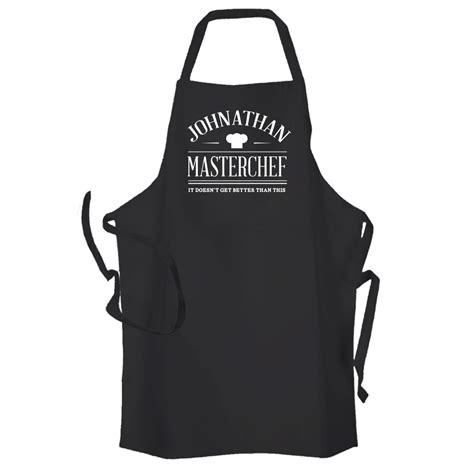 kitchen apron designs master chef personalised kitchen apron black 2188