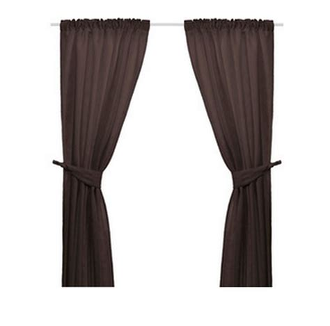 ikea brown curtains with tie backs 98 quot jacqiard