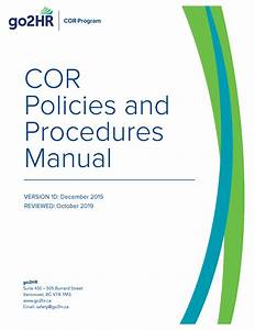 Cor Program  Policies And Procedures Manual