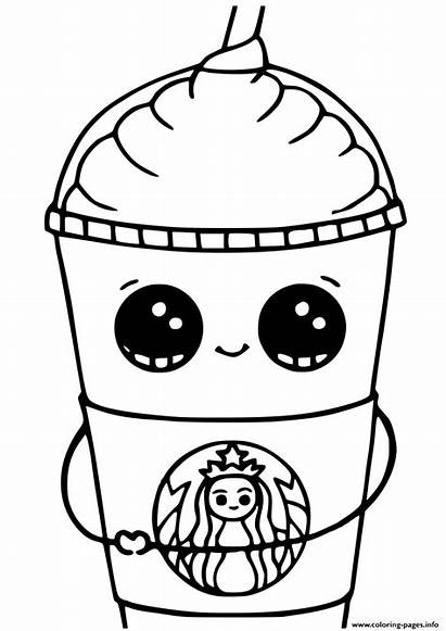 Coloring Kawaii Starbucks Printable Cups Unicorn Frappuccino