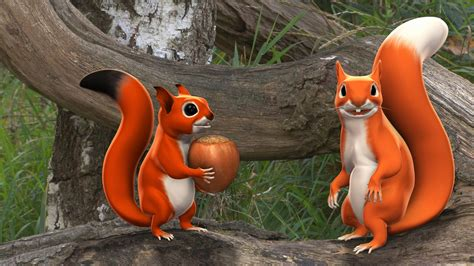 Pip the squirrel 3D animated series • Full Rotation ...