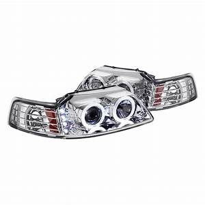 Lumen® - Ford Mustang 2000 Chrome Halo Projector Headlights with Parking LEDs
