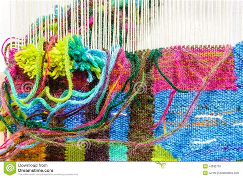 weaving loom fabric manufacture stock photo image
