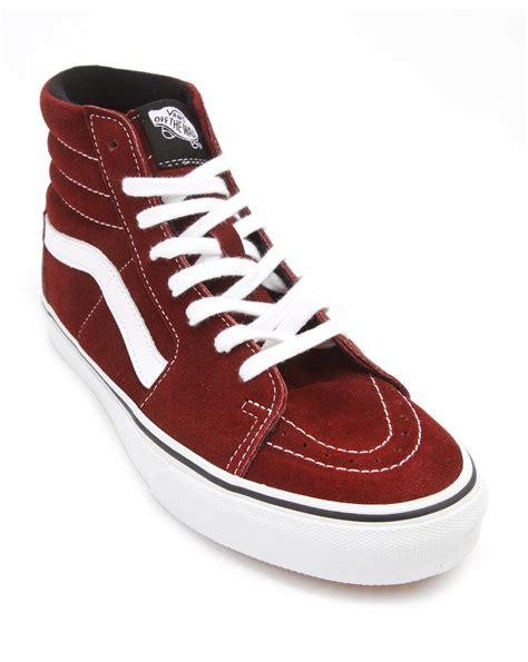 Vans Sk8 Hi Burgundy Suede Sneakers in Red for Men ...