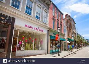 Shops and stores on King Street in Charleston, South ...