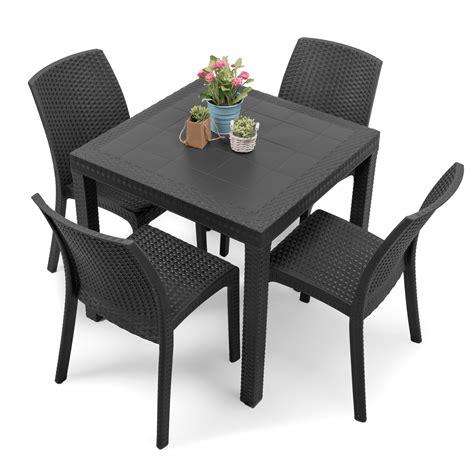 sedie e tavoli da esterno tavolo da esterno quadrato 80x80 grigio antracite con 4 sedie