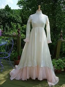 wedding dress 1970s vintage gown ivory by retrovintageweddings With 1970s wedding dress