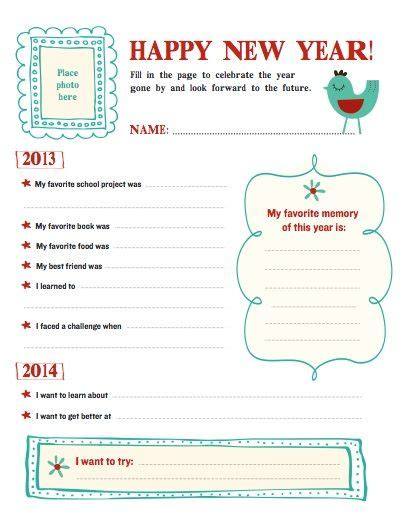 printable new year s resolution template ages 6 10 writing literacy language arts teaching