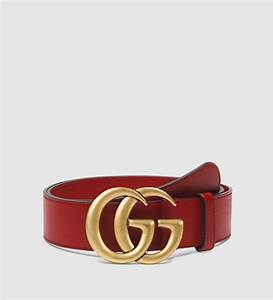 Lyst - Gucci Leather Belt With Double G Buckle in Red