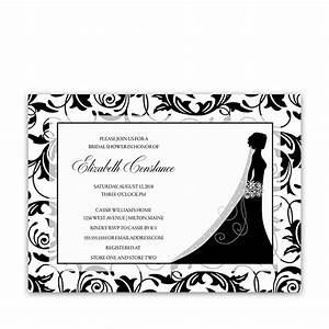 damask bridal shower invitations bride silhouette With black and white silhouette wedding invitations