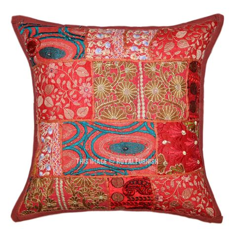 decorative throw pillow covers brown boho patchwork embroidered decorative throw pillow
