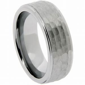 Men39s 8mm Tungsten Wedding Band Ring Hammered Finish J