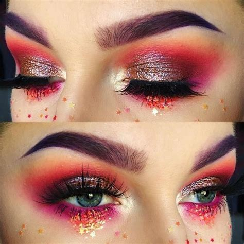aries inspired eyeshadow  astrology zodiac   red festival makeup eye makeup makeup