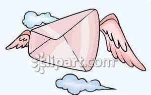 A Pink Envelope with Wings - Royalty Free Clipart Picture