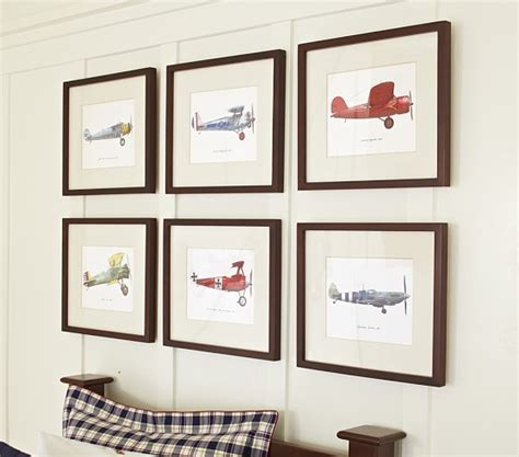 pottery barn baby wall decor framed vintage plane pottery barn