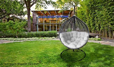 siege cocoon fauteuil suspendu de luxe en rsine tresse gris et blanc