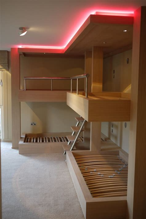 lights for bunk beds huge bespoke bunk beds in limed oak with integrated lighting adjustable rope lighting around