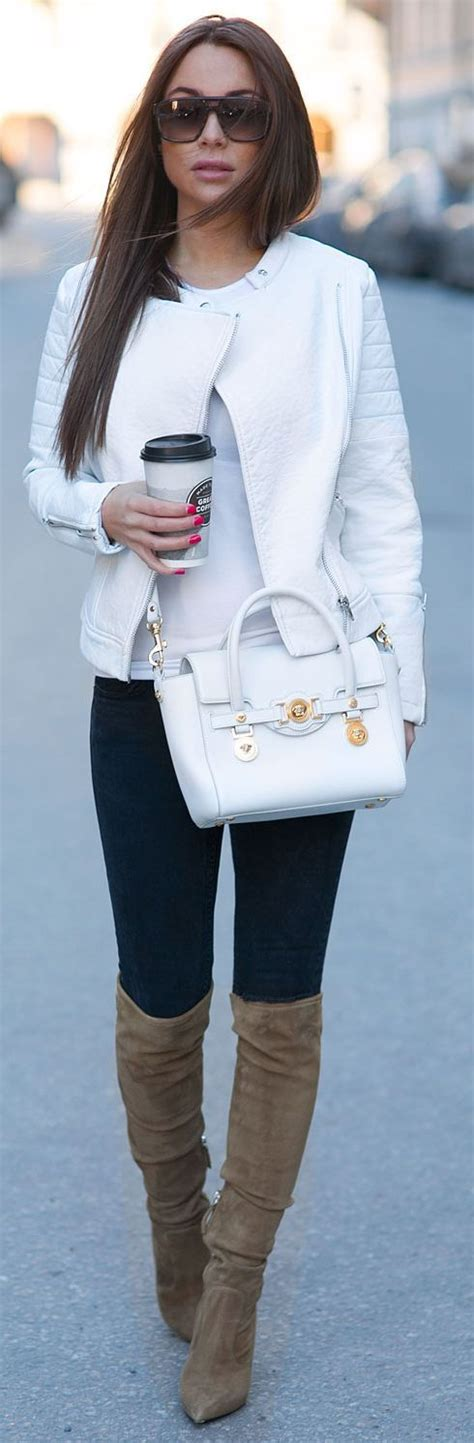 White Leather Jacket Outfit | www.imgkid.com - The Image ...