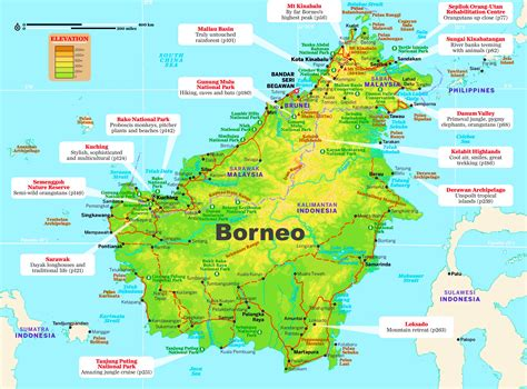 borneo maps indonesia  island kalimantan  map