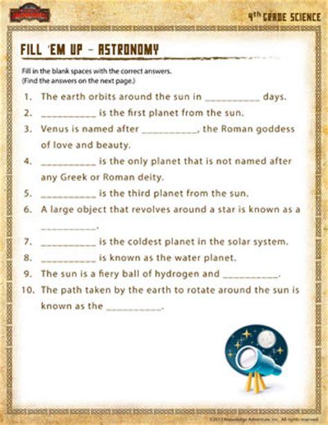 fill em up astronomy 4th grade science worksheet sod