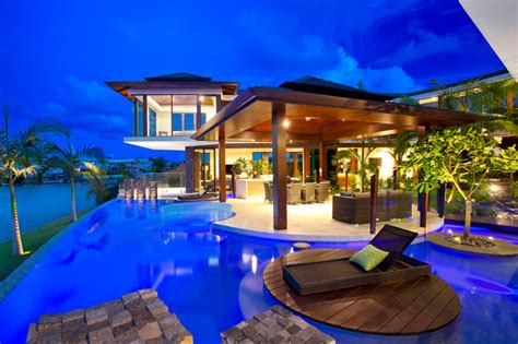 pool home plans tropical house tropical gold coast tweed by chris