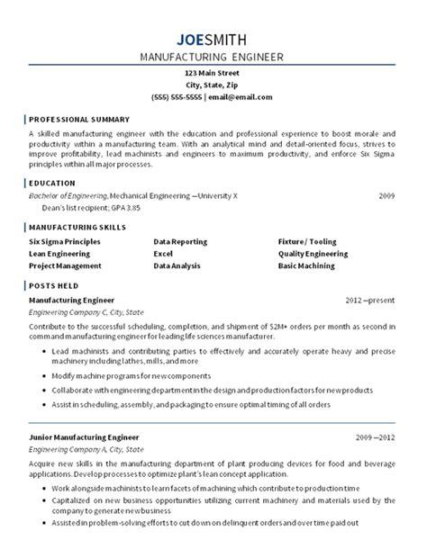 manufacturing engineer resume  mechanical engineering